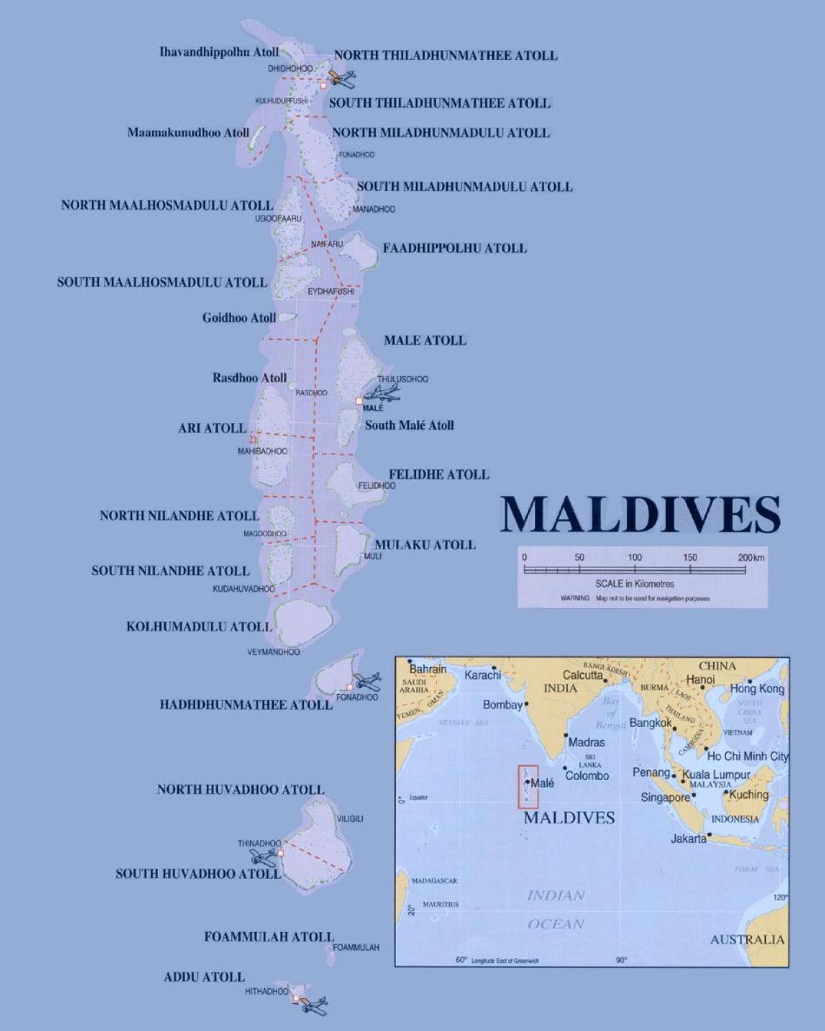 Malediivien Poliittisen Kartta Kartta Malediivit Poliittinen